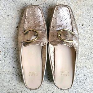 Stuart Weitzman Gold Metallic Loafers Driving Shoe